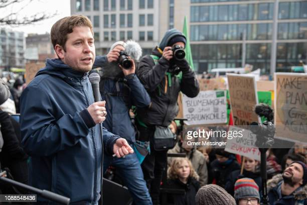 The leader of the JuSos the youth organisation of the Social Democratic Party Kevin Kuehnert delivers a speech in front of Striking high school...