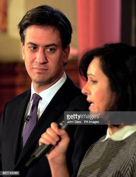 The Leader of the Labour Party Ed Miliband and Caroline Flint the Shadow Energy Secretary answer questions following his speech about the new Labour...