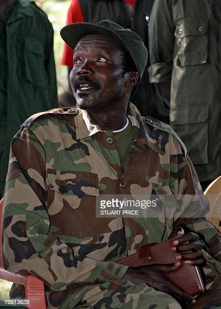 The leader of the Lord's Resistance Army Joseph Kony answers journalists' questions 12 November at RiKwamba in Southern Sudan following a meeting...