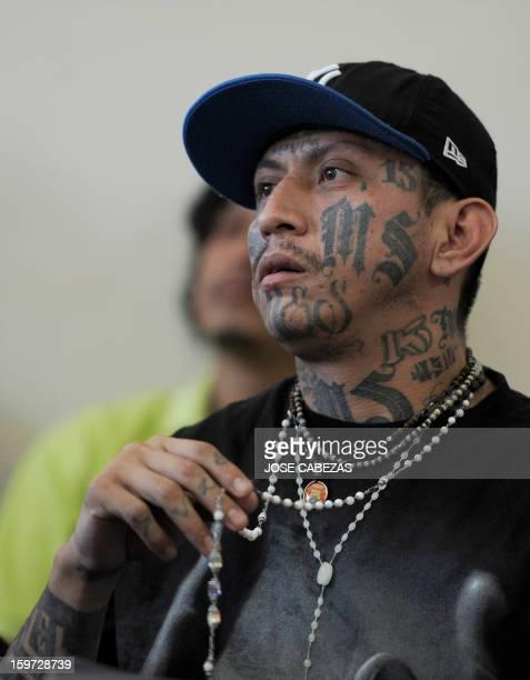 The leader of the Mara Salvatrucha gang Carlos Alberto Valladares takes part in a press conference at La Esperanza Penitenciary in San Salvador El...