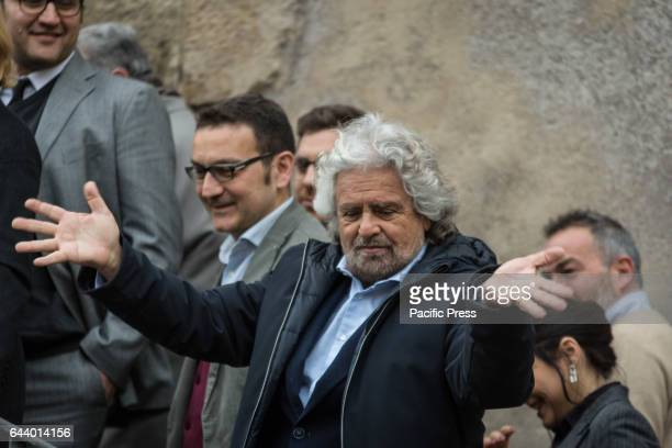 The leader of the Movement 5 Star Beppe Grillo arrives at the Capitol for the meeting with mayor Virginia Raggi