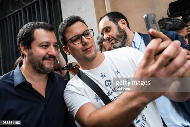 The leader of the North League Matteo Salvini with a tourist who asks him a selfie during the Northern League leader Matteo Salvini speaks with the...