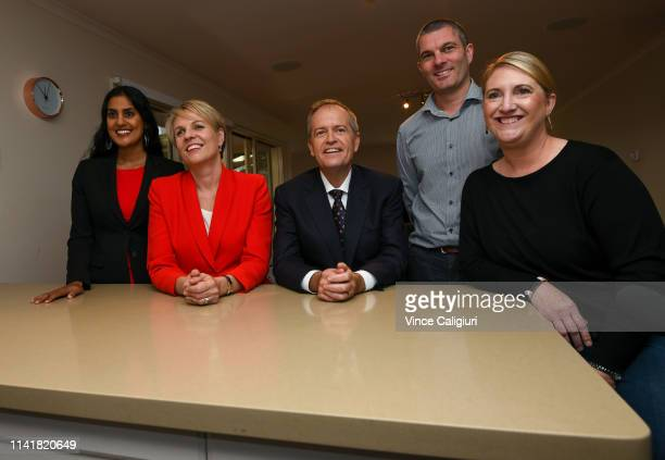 The Leader of the Opposition Bill Shorten and Deputy Leader Tanya Plibersek and Labor Candidate for Deakin Shireen Morris meet local family from...