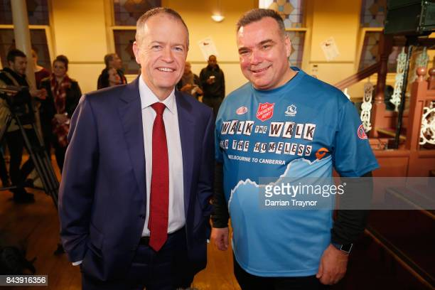 The Leader of the Opposition Bill Shorten and Major Brendan Nottle of the Salvation Army pose for a photo at the launch of 'Walk the Walk' campaign...