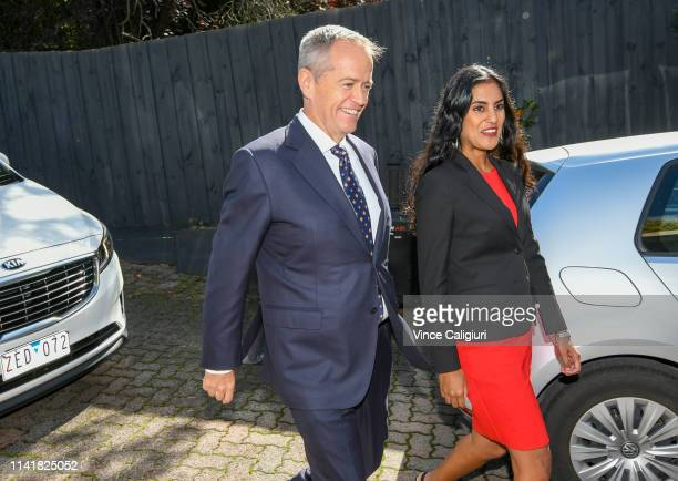 The Leader of the Opposition Bill Shorten arrives and is greeted by Labor Candidate for Deakin Shireen Morris at the family home of Richard and...