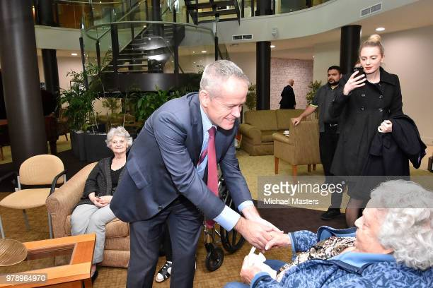 The Leader of the Opposition Bill Shorten joined by Shadow Ministers Andrew Leigh and Julie Collins visit the Goodwin Village aged care facility on...