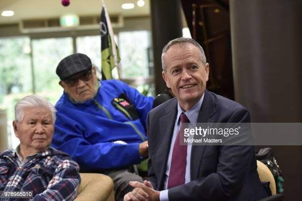 The Leader of the Opposition Bill Shorten joined by Shadow Ministers Andrew Leigh and Julie Collins visits the Goodwin Village aged care facility on...