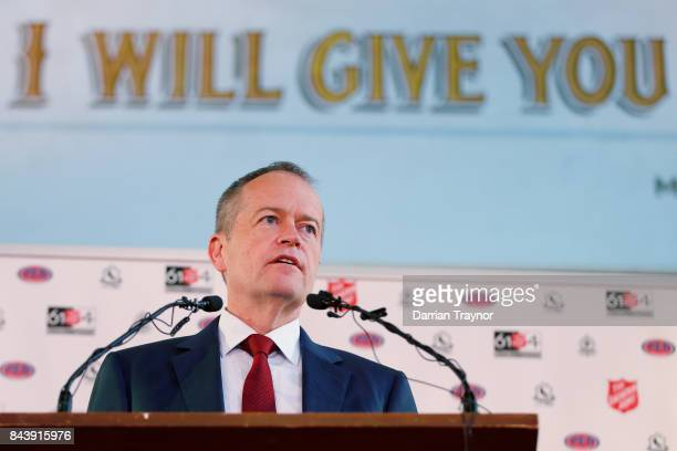 The Leader of the Opposition Bill Shorten speaks at the launch of the Salvation Army's 'Walk the Walk' campaign to raise awareness of homelessness on...