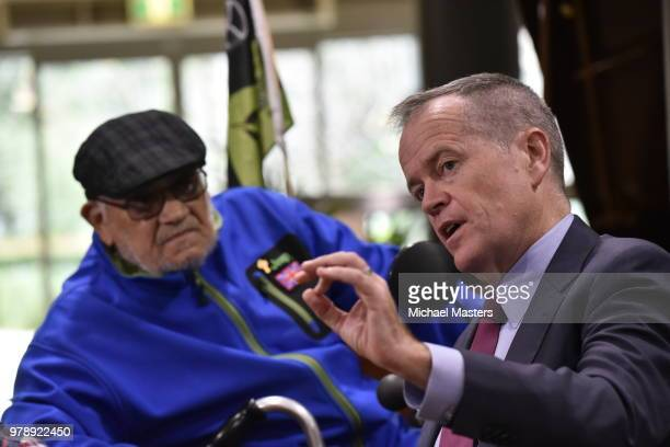 The Leader of the Opposition Bill Shorten speaks with aged care resident Eddie Diaz during a visit to the Goodwin Village aged care facility on June...