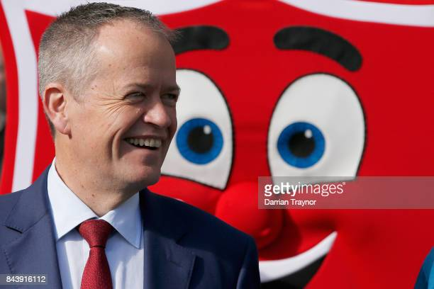 The Leader of the Opposition Bill Shorten takes part in the launch of the Salvation Army's 'Walk the Walk' campaign to raise awareness of...