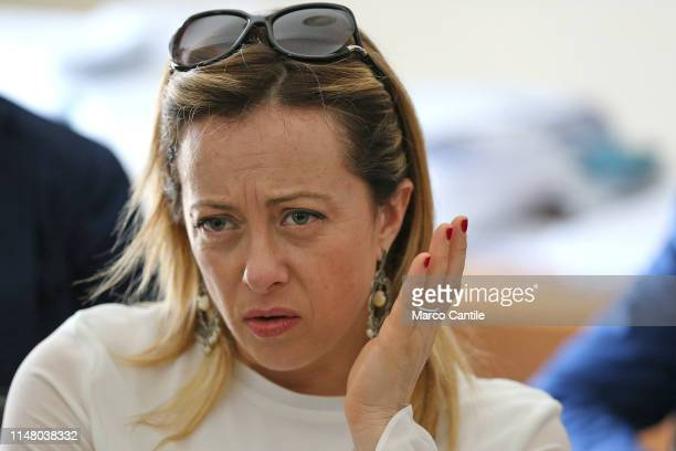 The leader of the political party Fratelli d'Italia Giorgia Meloni during a political meeting in Castel Volturno for the local elections