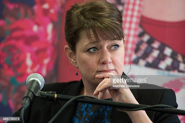 The leader of the political party Plaid Cymru Leanne Wood looks on during a Welsh Leaders' debate hosted by the Federation of Small Businesses at...