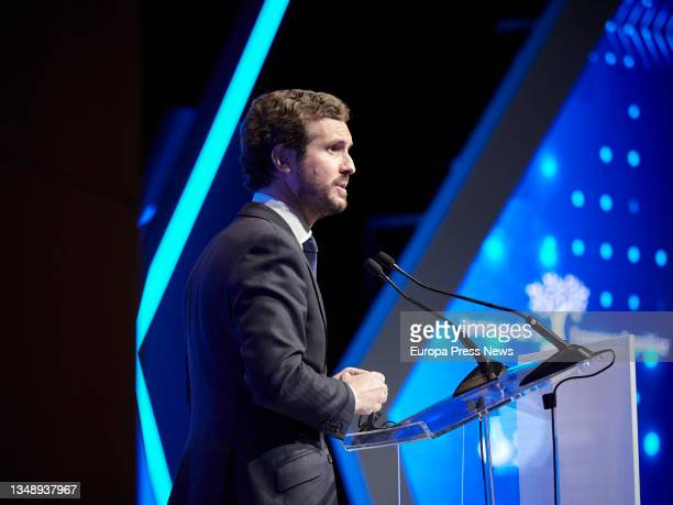 The leader of the Popular Party, Pablo Casado, speaks during the opening of the XXIV National Congress of Family Businesses at the Baluarte...