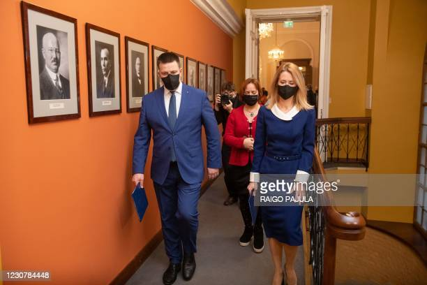 The leader of the Reform Party, the future Prime Minister Kaja Kallas and the chairman of the Centre Party and outgoing Prime Minister Jüri Ratas are...