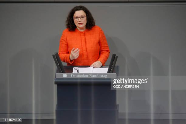 The leader of the Social Democratic Party Andrea Nahles speaks during a debate at the Bundestag the lower house of parliament for the 70th...