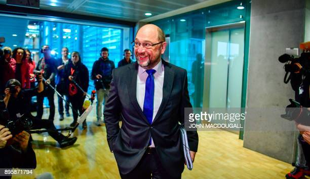 The leader of the Social Democratic Party Martin Schulz arrives for talks about forming a coalition government involving the Social Democratic Party...