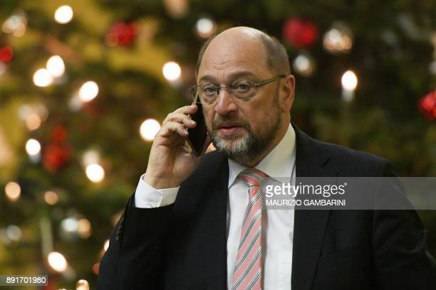 The leader of the Social Democratic Party Martin Schulz speaks on the phone as he arrives at the Jakob Kaisers haus at the German parliament for a...