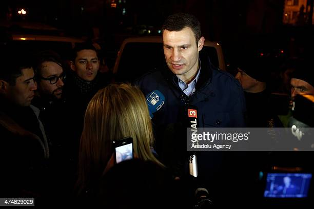The leader of the Ukrainian Democratic Alliance for Reform Vitali Klitschko speaks to the media as antigovernment protestors not leaving the...
