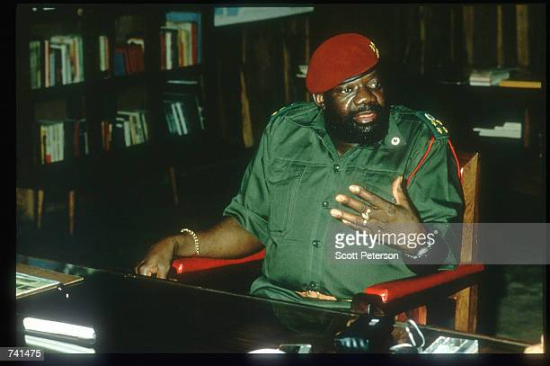 The leader of UNITA Dr Jonas Savimbi sits January 23 1990 near Jamba Angola The National Union for the Total Independence of Angola and the Marxist...