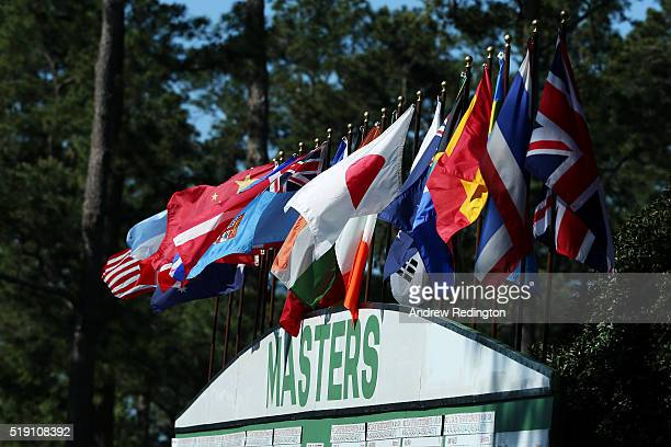 The leaderboard is seen during a practice round prior to the start of the 2016 Masters Tournament at Augusta National Golf Club on April 4 2016 in...