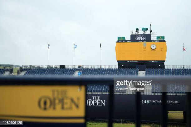 The Leaderboard on the 18th green in pictured during a practice round prior to the 148th Open Championship held on the Dunluce Links at Royal...