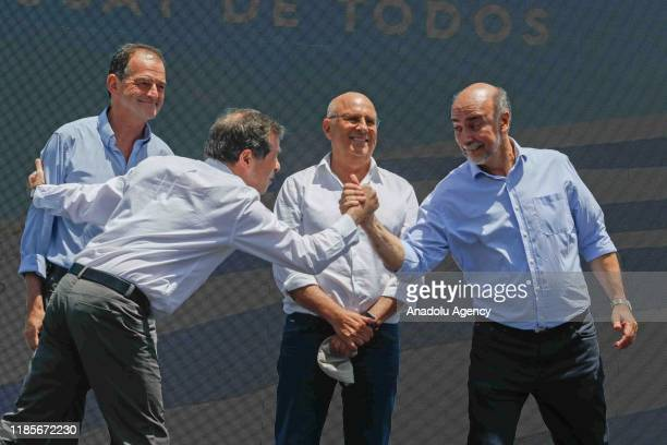 The leaders of political parties that joined the elected president Luis Lacalle to win the ballot for the Cabildo Abierto party Guido Manini for the...