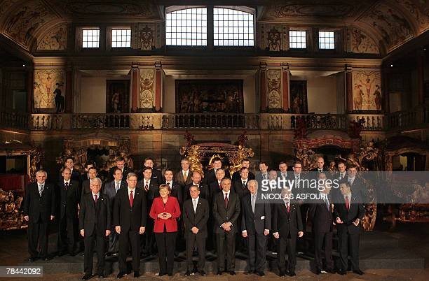 The leaders of the 27nation European Union pose for a photo at the museum of Coche after they signed the ''Treaty of Lisbon'' at the Jeronimo...