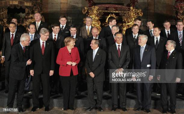 The leaders of the European Union pose for a photo at the museum of Coche after they signed the ''Treaty of Lisbon'' at the Jeronimo Monastery in...