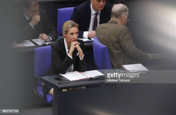 The leaders of the far Right party AFD Alexander Gauland and Alice Weidel sit during the opening session of the new Bundestag on October 24 2017 in...
