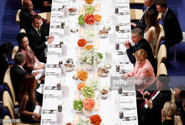 The leaders of the G20 Summit attend a state banquet in the Elbphilarmonie concert Hall on the first day of the G20 economic summit on July 7 2017 in...