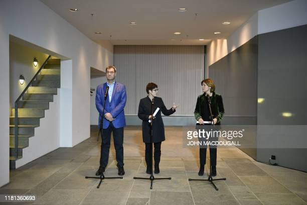 The leaders of the German government's coalition parties Markus Soeder , Annegret Kramp-Karrenbauer and Malu Dreyer give a press statement on...