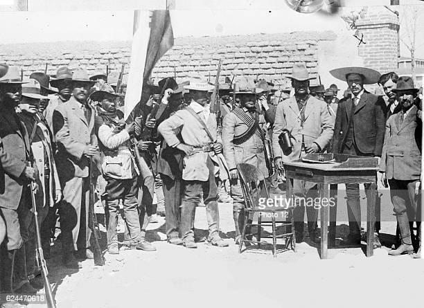 The leaders of the Mexican Revolution Francisco Ignacio Madero Rodolfo Fierro General Pascual Orozco and Abraham Gonzalez