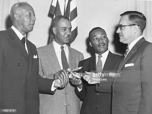 The leaders of the Prayer Pilgrimage for Freedom from left President Brotherhood of Sleeping Car Porters A Philip Randolph National Association for...