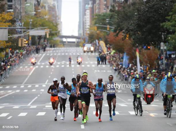 The leaders of the Professional Men's Division make their way during the 2017 TCS New York City Marathon on November 5 2017 in New York City