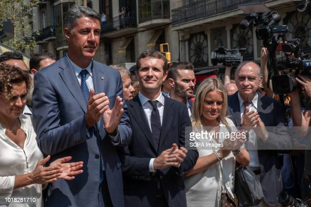 The leaders of the Spanish Popular Party Xavier Albiol and Pablo Casado are seen at the event Barcelona celebrated the first anniversary of the...