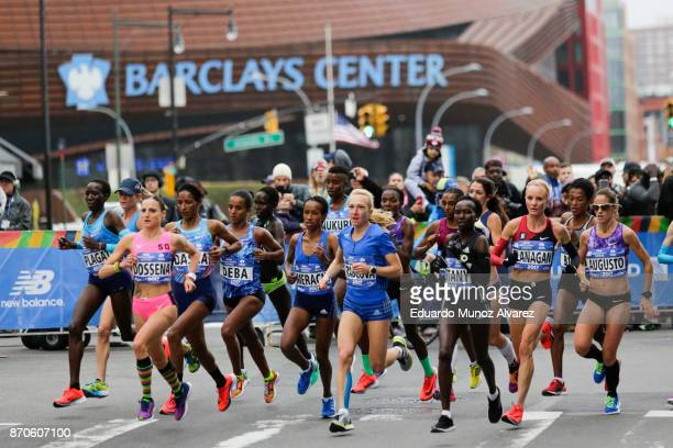 The leaders of the women's professional division make their way on Atlantic Avenue during the 2017 TCS New York City Marathon November 5 2017 in the...