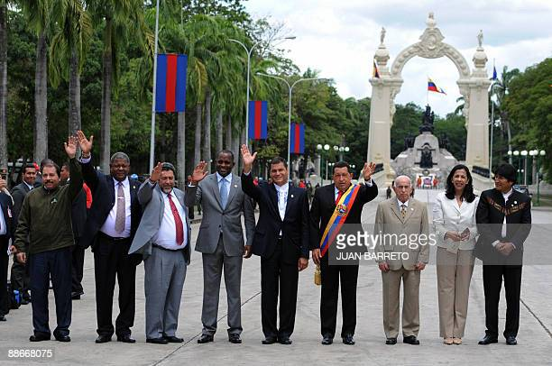 The leaders taking part in the Bolivarian Alternative for the Americas Summit Nicaragua's President Daniel Ortega Antigua Barbuda's Prime Minister...