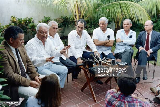 The leadership of political parties opposed to the leadership of military strongman General Manuel Antonio Noriega meet the press to explain their...