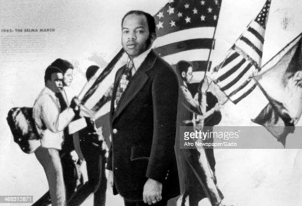 The leading Civil Rights movement campaigner and congressman John Lewis, standing in front of an exhibit commemorating events in the struggle for the...