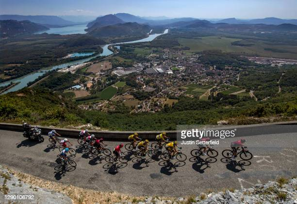 The leading group climb Grand Colombier during the 32nd Tour de L'Ain 2020, Stage 3 a 145km stage from Saint Vulbas to Grand Colombier 1501m on...