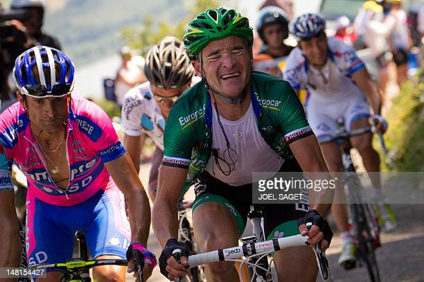 The leading men LtoR Italy's Michele Scarponi and France's Thomas Voeckler climb in a breakaway in the 1945 km and tenth stage of the 2012 Tour de...