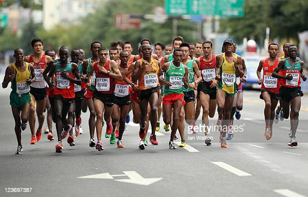 The leading pack for the men's Marathon Final during day nine of 13th IAAF World Athletics Championships at Daegu Stadium on September 4, 2011 in...