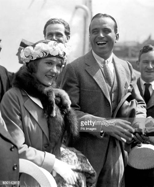 The leading stars of the silent screen in Hollywood USA Miss Mary Pickford and her husband Douglas Fairbanks Snr arrive at Southampton docks on board...