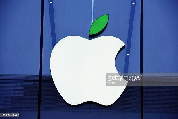 The 'leaf' on the logo of Apple store turns green to welcome the World Earth Day on April 20 2016 in Hangzhou Zhejiang Province of China