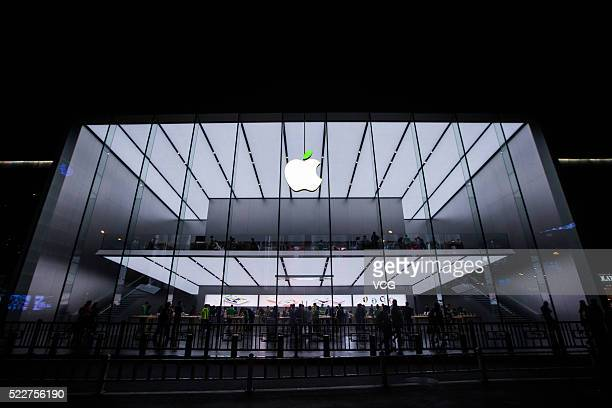 The 'leaf' on the logo of Apple store turns green to welcome the World Earth Day on April 20 2016 in Hangzhou Zhejiang Province of China Apple Inc...