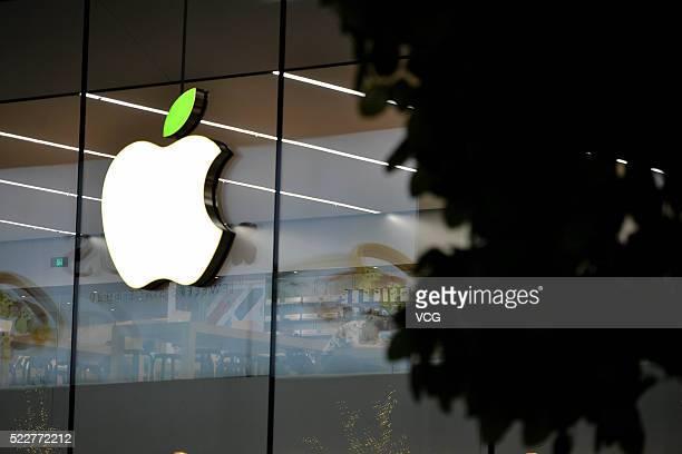 The 'leaf' on the logo of Apple store turns green to welcome the World Earth Day on April 20 2016 in Shenyang Liaoning Province of China Apple Inc...