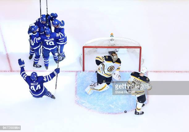 TORONTO ON APRIL 16 The Leafs celebrate Toronto Maple Leafs left wing James van Riemsdyk's first period goal as the Toronto Maple Leafs beat the...