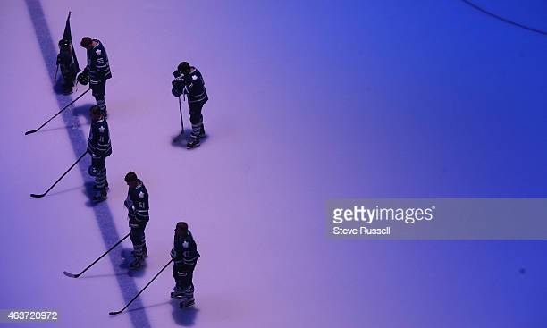 TORONTO ON FEBRUARY 17 The Leafs starting five including Olli Jokinen standing furthest back honour Steve Montador who passed away this week as the...