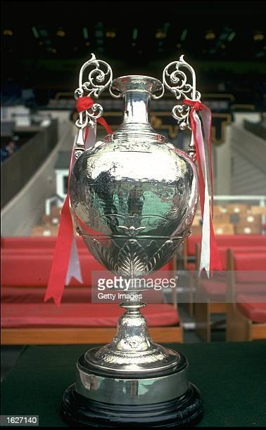 The League Championship Trophy displayed at Wembley Stadium in London. \ Mandatory Credit: Allsport UK /Allsport