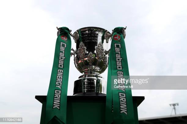 The League Cup Trophy ahead of kick off in the Carabao Cup Second Round match between Newport County and West Ham United at Rodney Parade on August...